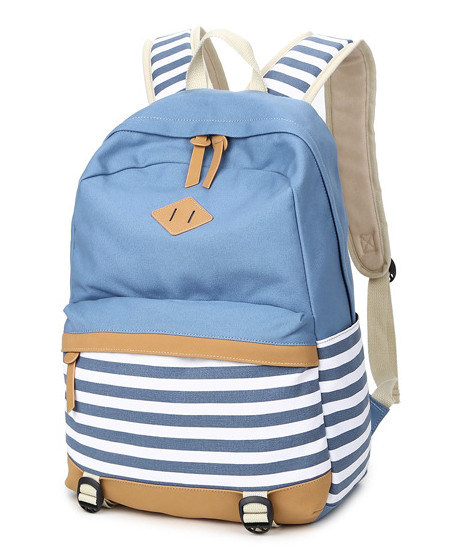 Candy Colors New Style Canvas Double Shoulder Bag Navy Striped Bag Girls′ School  Bag High School Bag f4d2e07710146