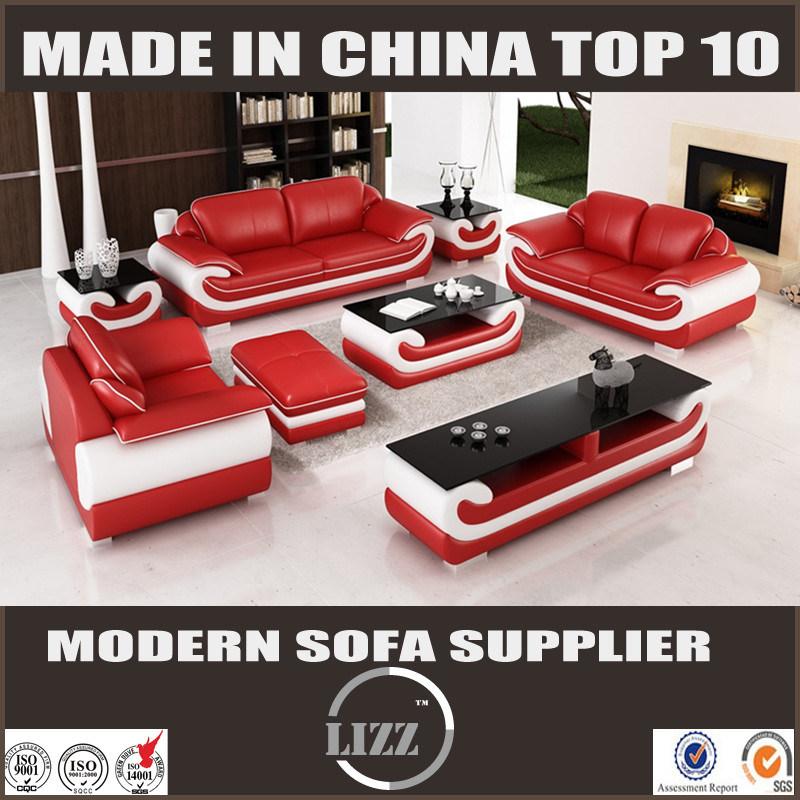 [Hot Item] Modern Red Leather Sofa Set for Living Room Furniture