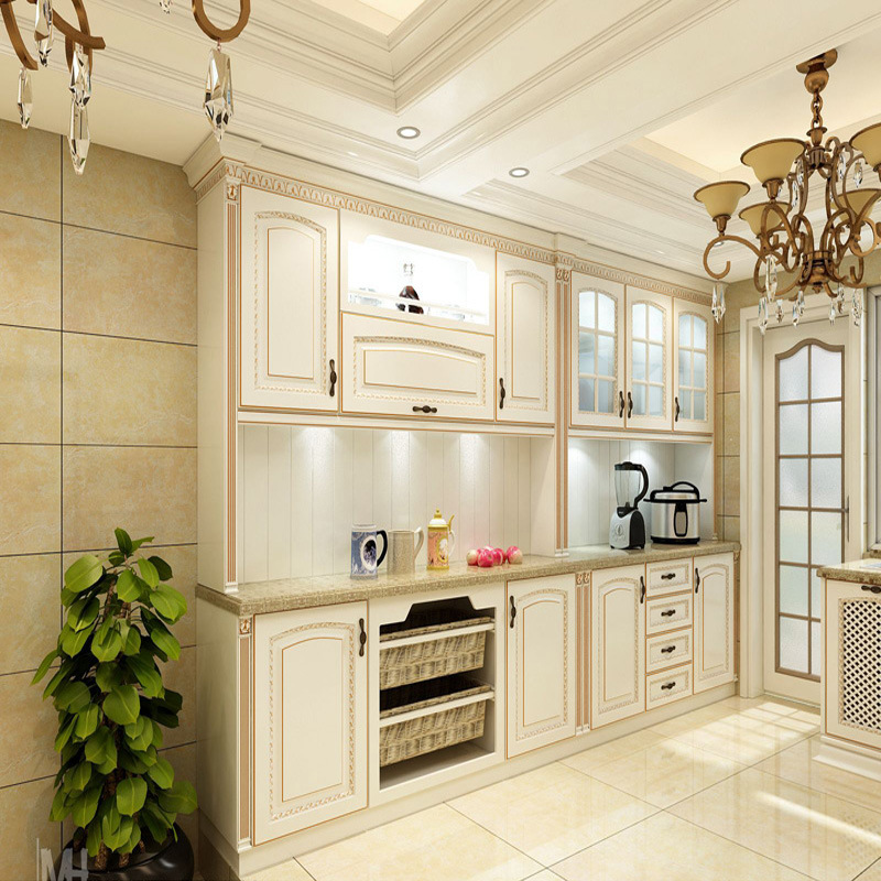 china bck newest antique white solid wood kitchen cabinets