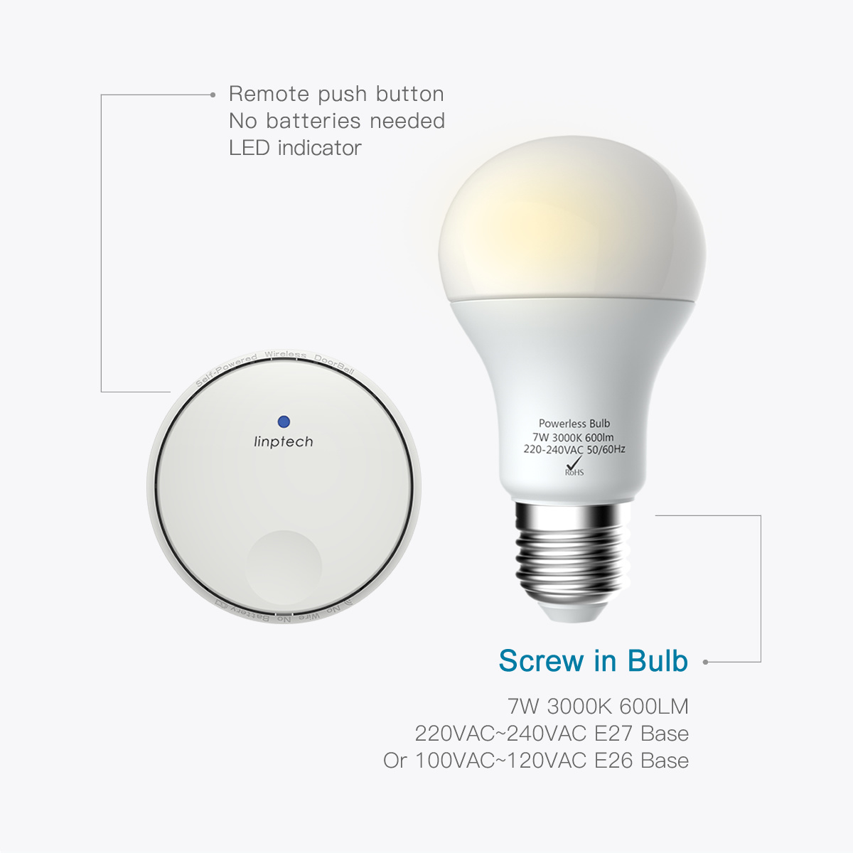 Battery Free Wirefree Led Bulb