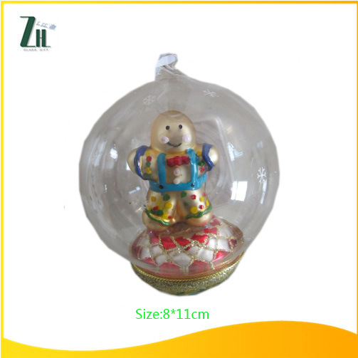 Clear Christmas Glass Ball with Superman Inside