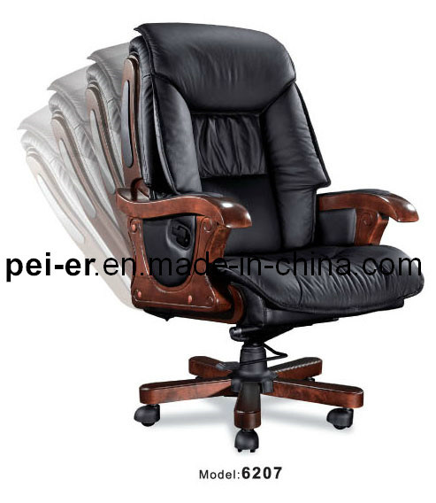China Office Luxury Ergonomic Hotel Executive Wooden Leather Boss Chair  (PE 6207)   China Boss Chair, Office Chair