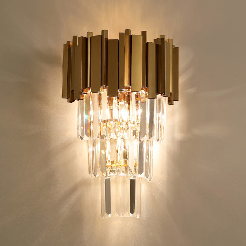 China Gold Crystal Sconce Wall Lamp For