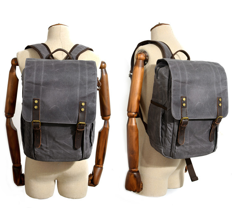 030e98ce61 Vintage Canvas Leather Bag Commuter Backpack Waxed Canavas Laptop Backpack  Bag (RS-9152)