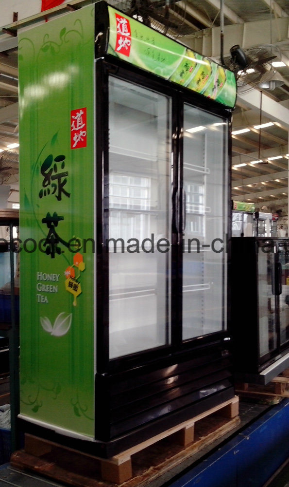 China Double Anti Fog Glass Door Upright Display Cooler For Drinks