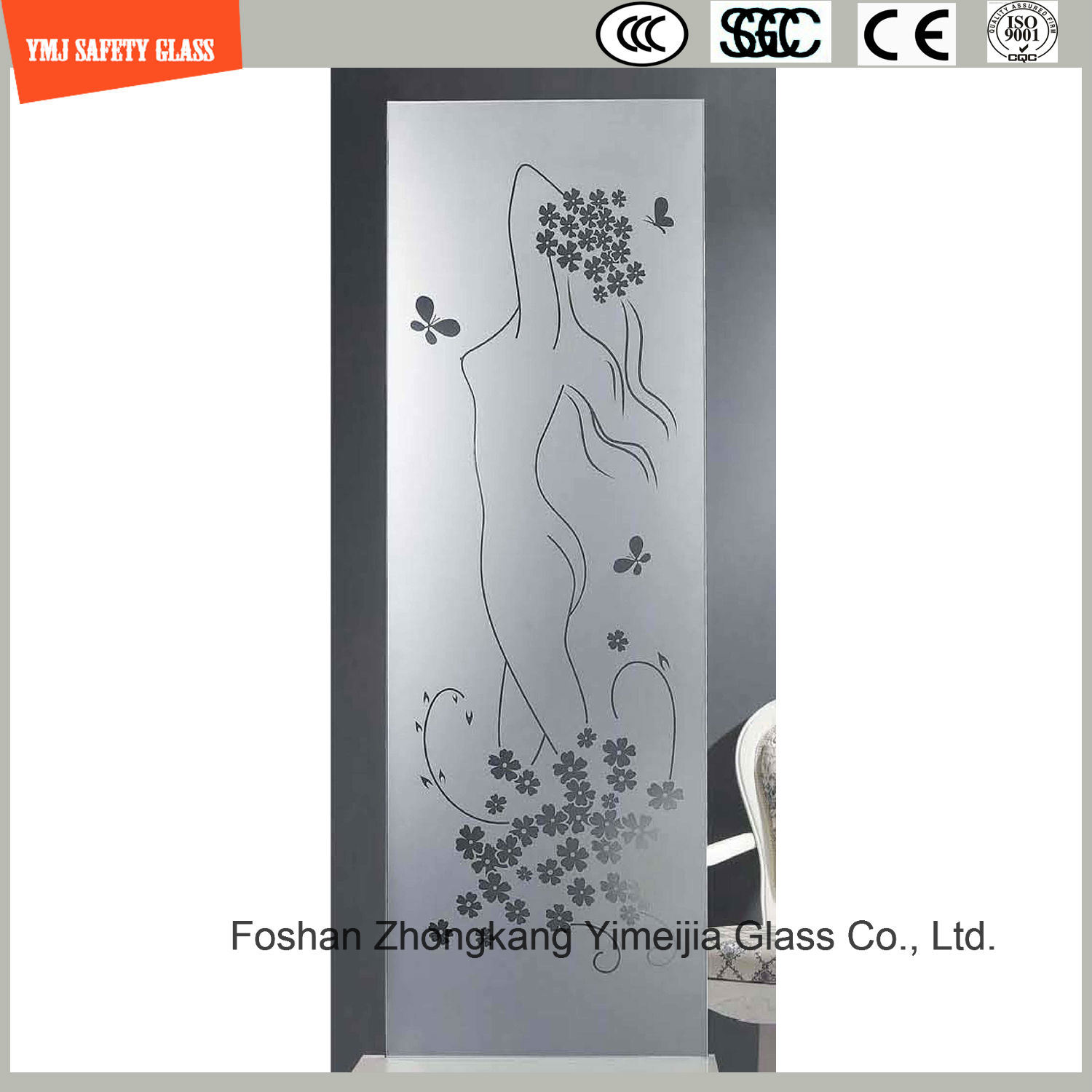 Silk Screening & Acid Etched Glass Shower Enclosure