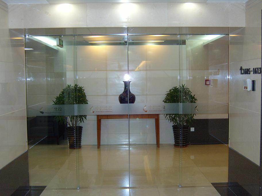 China Office Access Use Automatic Operation Frameless Glass Sliding