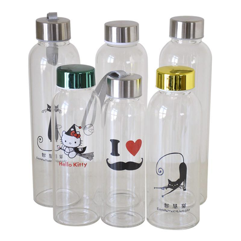 High Borosilicate Glass Water Bottle with Customized Unique Neoprene Sleeve 360ml/420ml