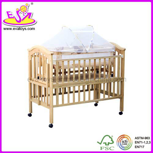 Wooden Baby Cot with Wheels (WJ278322)