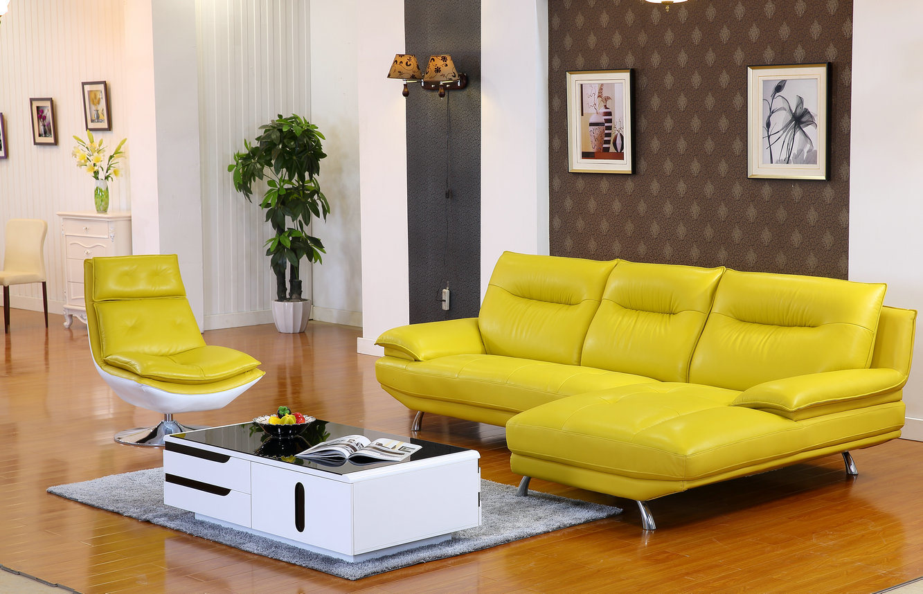 China Lemon Color Modern Genuine Leather Sofa 612 Photos  ~ Orange Color Leather Sofa