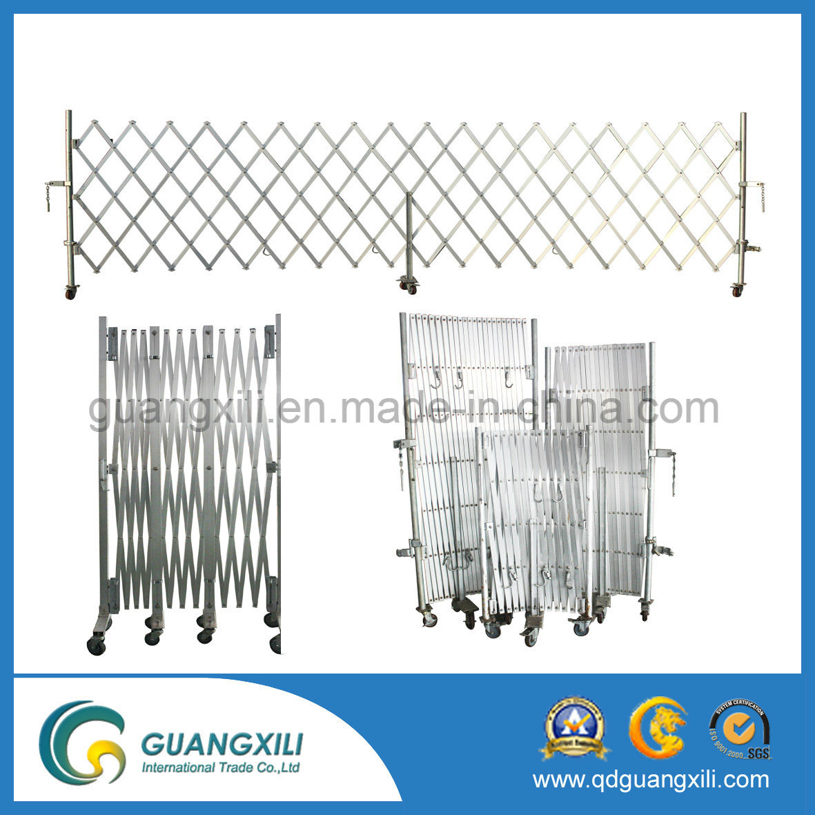 OEM New Design Aluminum Foldable Expandable Barrier Gate with Caster pictures & photos