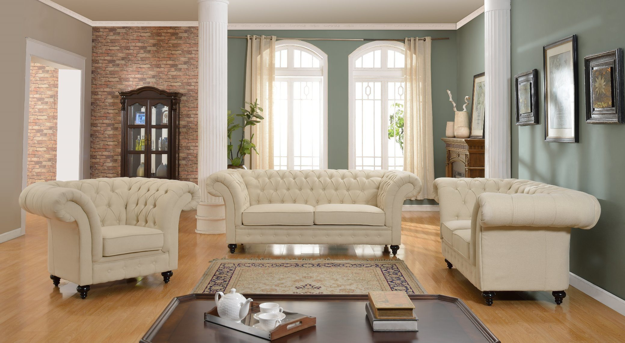 China Living Room Furniture Big Size Leather Chesterfield ...