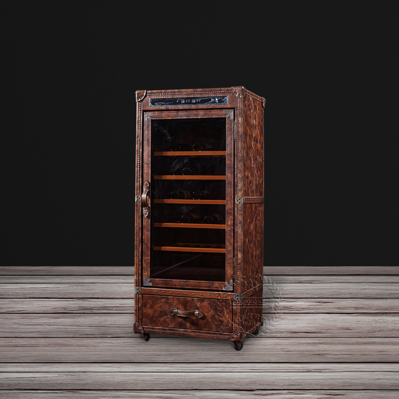 China High Quality Vintage Leather Display Cabinet Wine Cabinet With