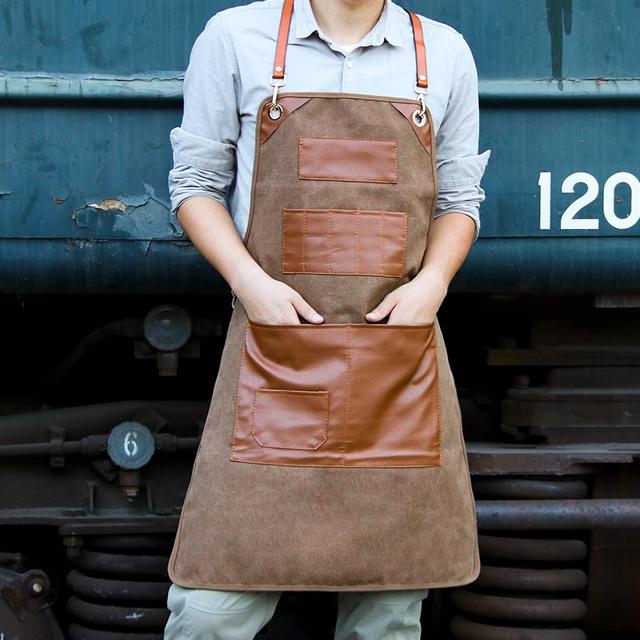 Canvas Kitchen Aprons Chef Work Apron For Grill Restaurant Bar Shop Woman Men