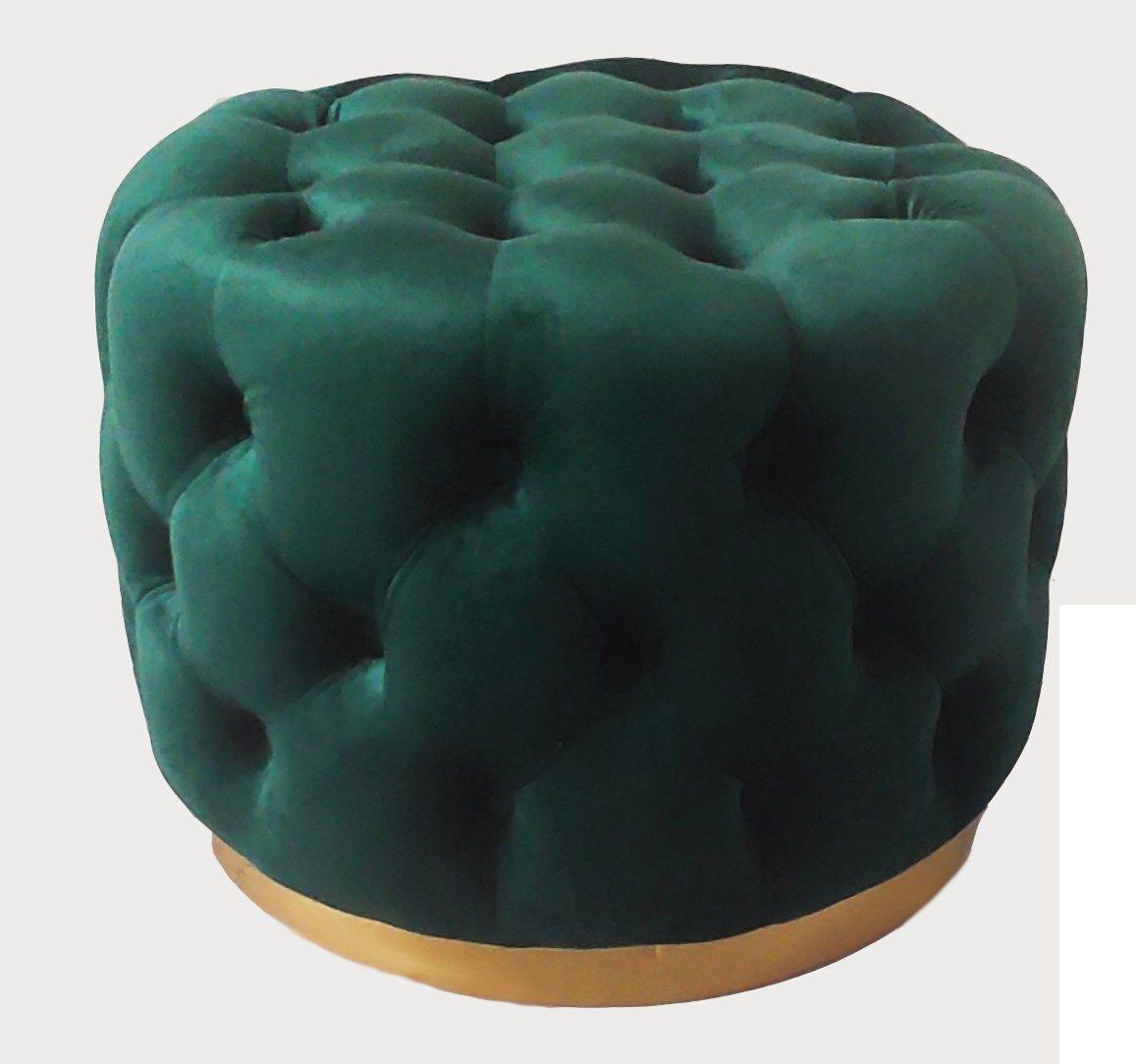 [Hot Item] Modern Round Velvet Home Bedroom Sofa Stool with Brass Steel Base