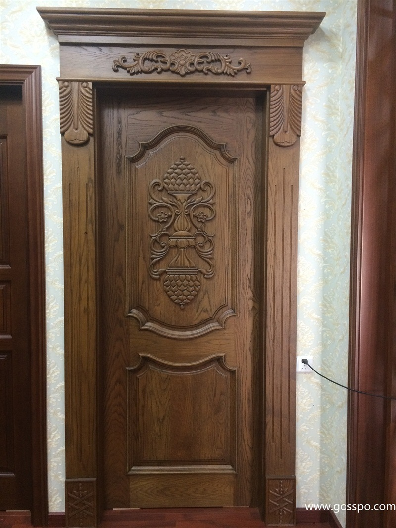 China Single Leaf Antique Carved Wood Front Doors for Sale (XS2-007 on
