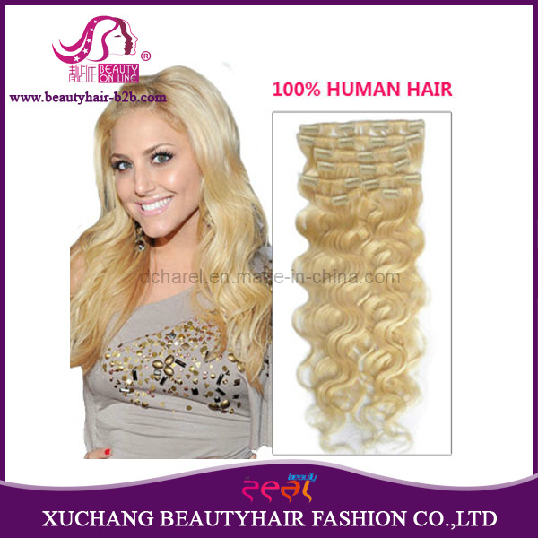 China Lightest White Blonde Body Wavy Clip In Remy Human Hair