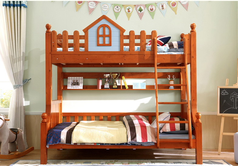 China Hot Sale Bunk Wood Bed Double Stair Wood Bed For Baby Kids