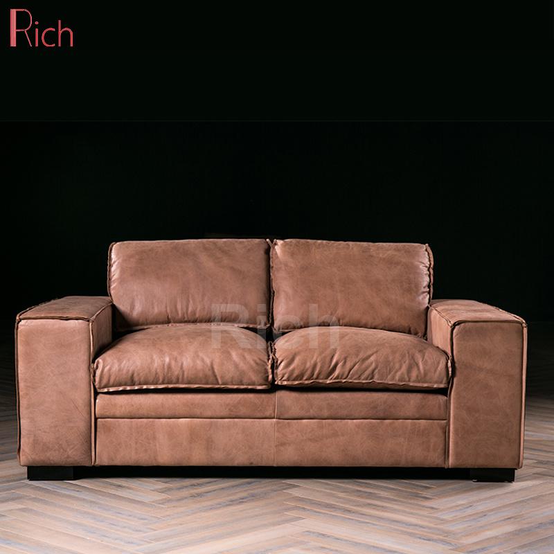 [Hot Item] Modern Italian Style Home Living Room Leisure Vintage Genuine  Leather Sofa