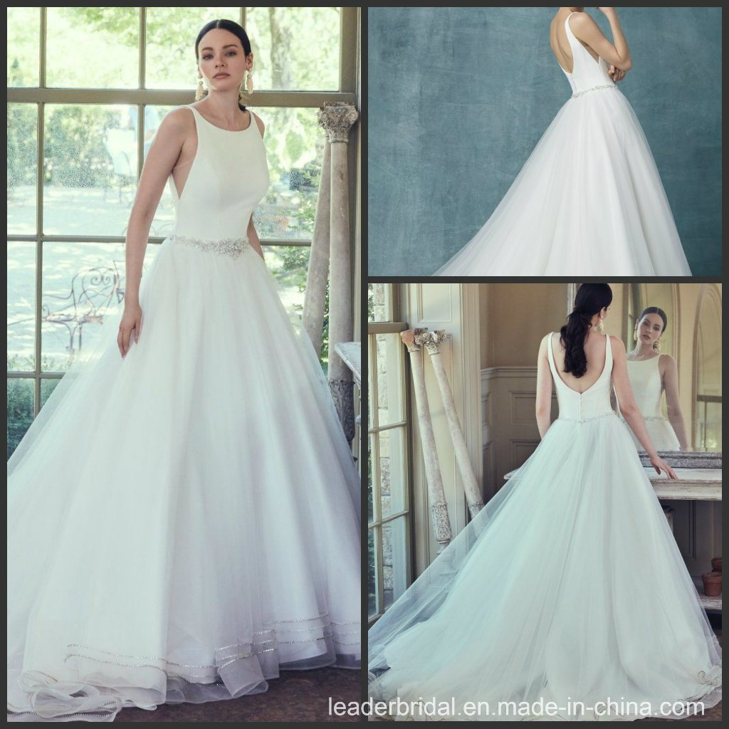44f153e2d1dee [Hot Item] Simple Bridal Gowns Beaded Tulle Custom Wedding Dresses M9125