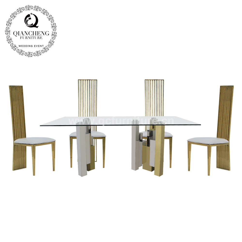 Silver And Gold Metal Base Glass Top Dining Table China Furniture Modern Furniture Made In China Com