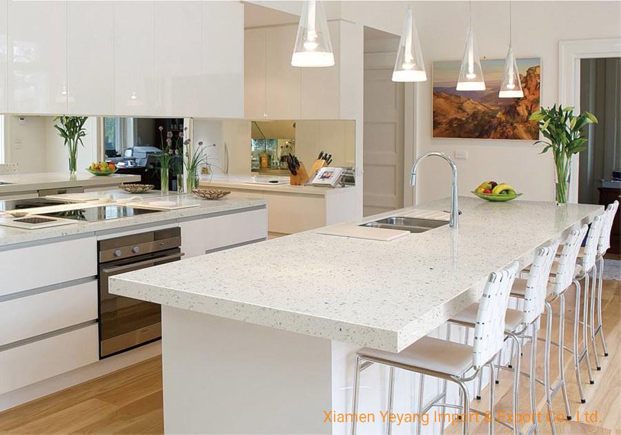 Crystal White Quartz Kitchen Countertops Vanitytop Project Floor Wall Tiles Wholesale China Quartz Countertops Quartz Kitchen Countertops Made In China Com