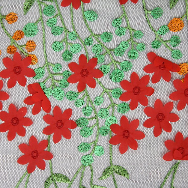 3D Flower Design Custom Made Embroidery Designs Flower Lace