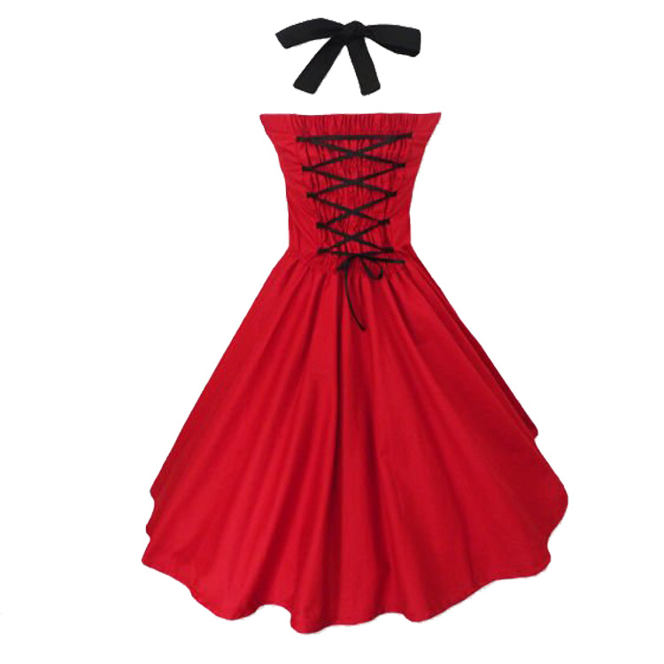 Celeb Halter Women Red Evening Rockabilly Dresses with Belt