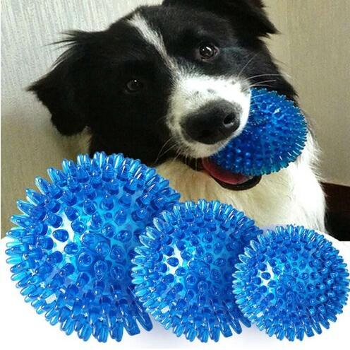 [Hot Item] Pet Dog Ball Toy Rubber Chewing Squker Puppy Soft Toys for Dogs  Balls Rubber Squeaking Interactive Latex Sound Bite Resistant