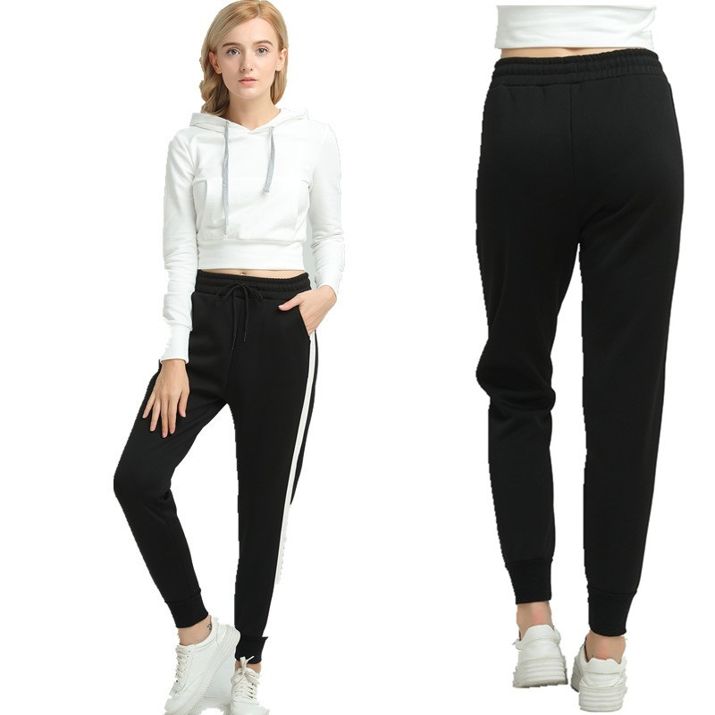 Women Pants Side Striped Sweatpants Spring Ankle-Length Loose Harem Pants Black with White Female Casual Wear pictures & photos