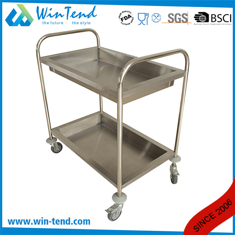 2 Tiers Round Tube Hand Push Service Deep Shelves Trolley Cart pictures & photos