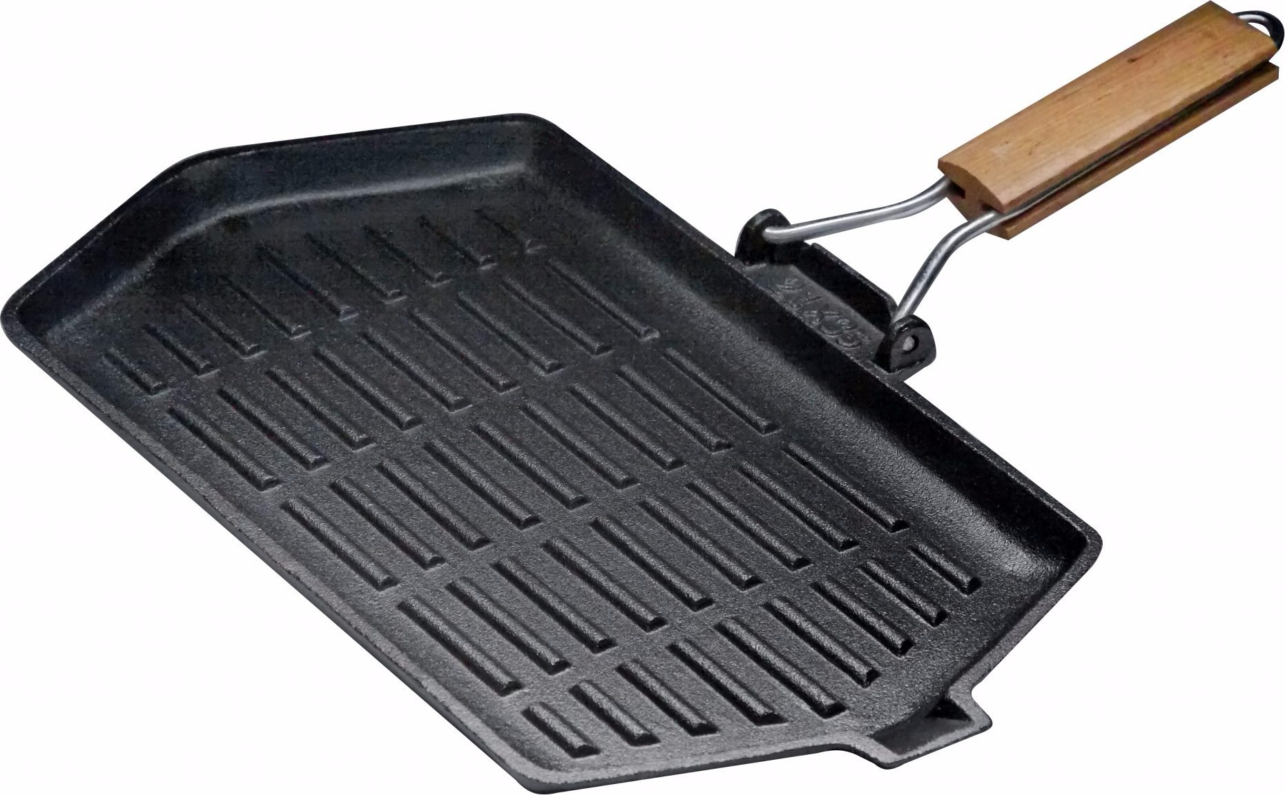 Cast Iron Rectangular Grill Frypan with Folding Handle