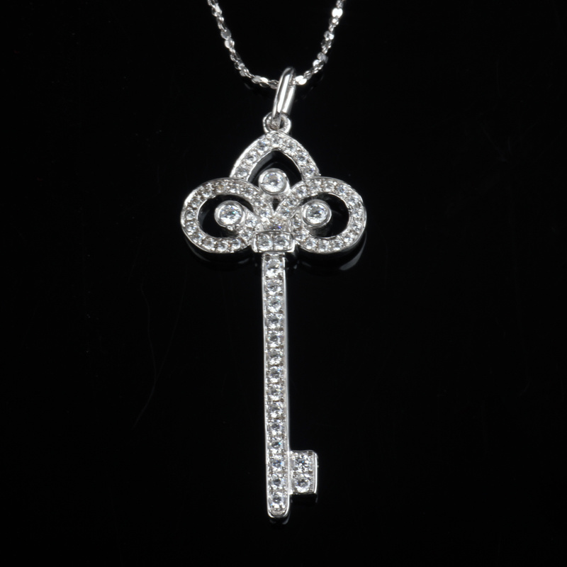 CZ Channel Setting Fashion Key Shape Jewelry Necklace Pendant