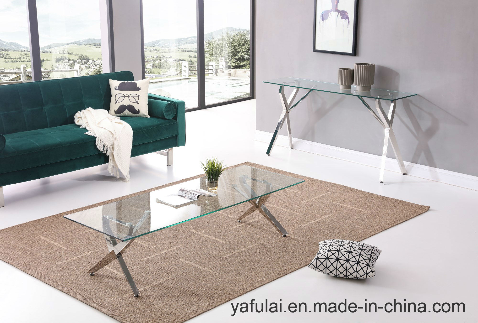 Side Table Modern Design.Hot Item Modern Design Temered Glass Coffee Table Side Table Furniture Set
