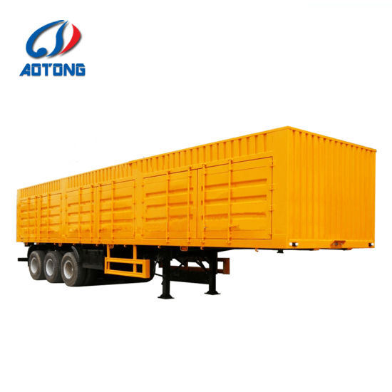59f7b261a2 China Three Axles Van Container Reffer Semi Trailer Box Cargo Truck ...