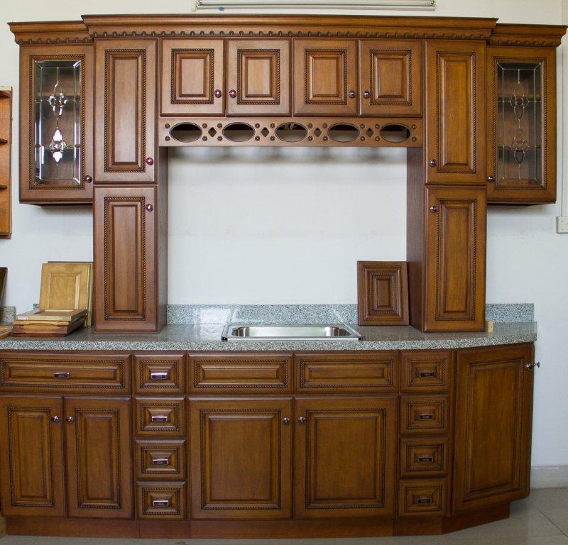 Solid Wood Kitchen Walnut Cabinets: China American Style Walnut Color Kitchen Cabinet (country