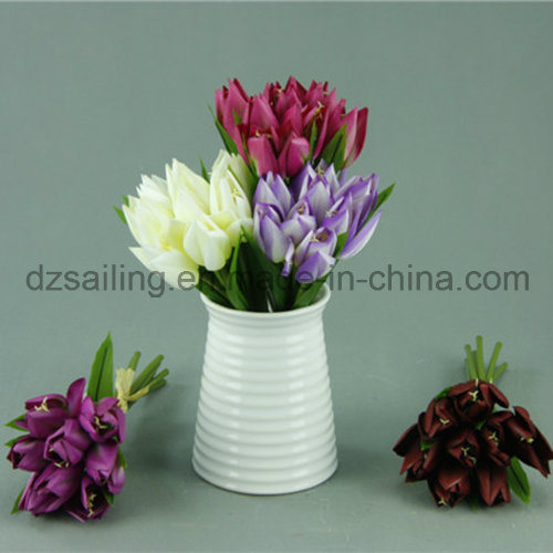 [Hot Item] Decorative Artificial Tulip Bouquet Flower with Hand Drawing  Color (SF11785)