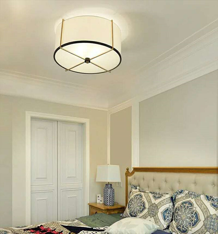 China Modern Drum Flush Mount Light Fixture Ceiling Light Lamp With Linen Fabric Shade For Bedroom Photos Pictures Made In China Com
