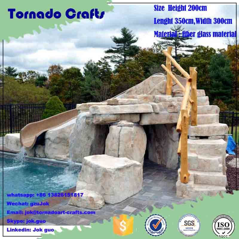 [Hot Item] Customized Swimming Pool Decorative Slide Landscape Outdoor  Artificial Waterfall Fountain