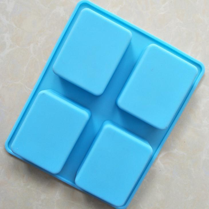 China 4 Cavity 150g Handmade Rectangle Silicone Soap Mold