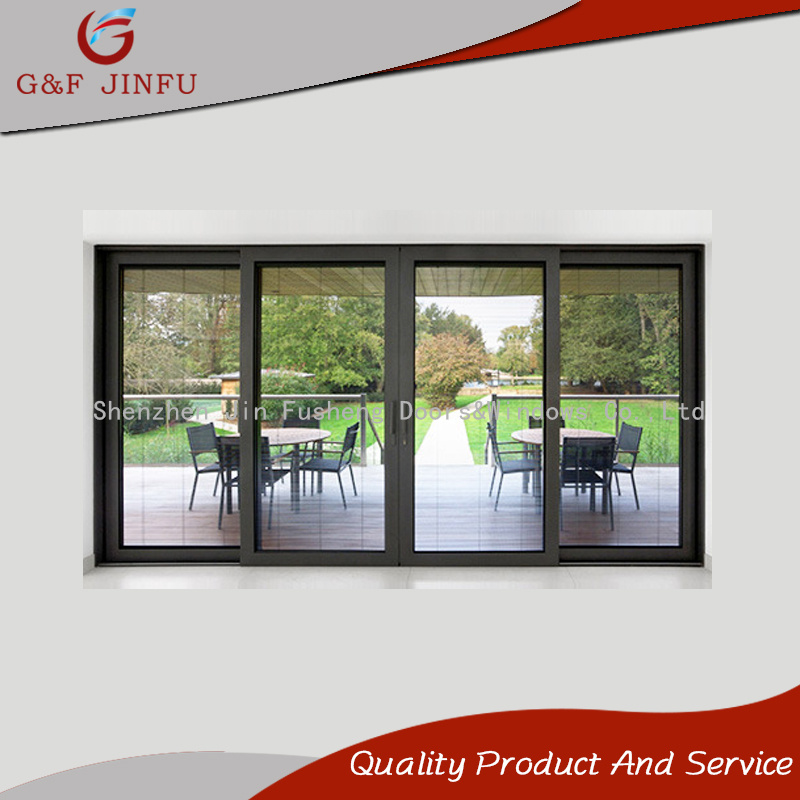 China Aluminum Double Glass Sliding Panel Door With Integral