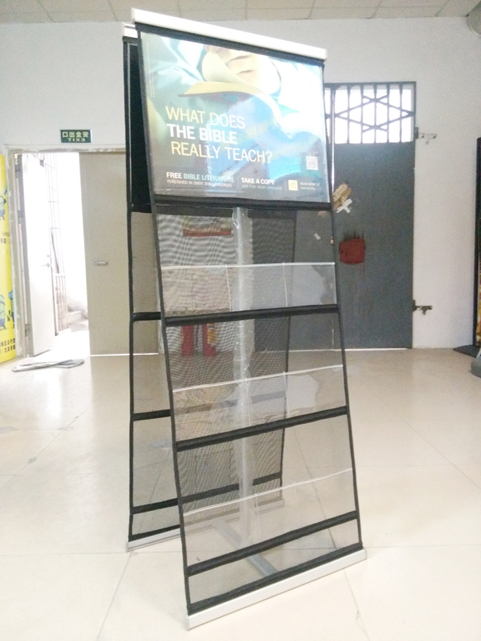 China Double Sides Newspaper Display Rack Folding Portable Brochure Stand Magazine