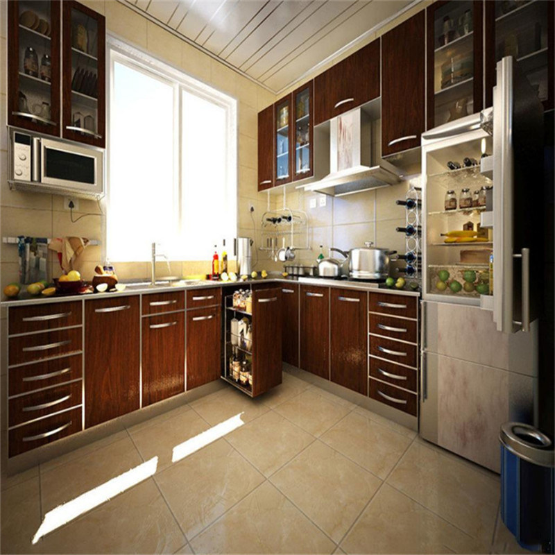 China Ready Made Wood Veneer Kitchen Cabinet With Blum Hardware Plywood