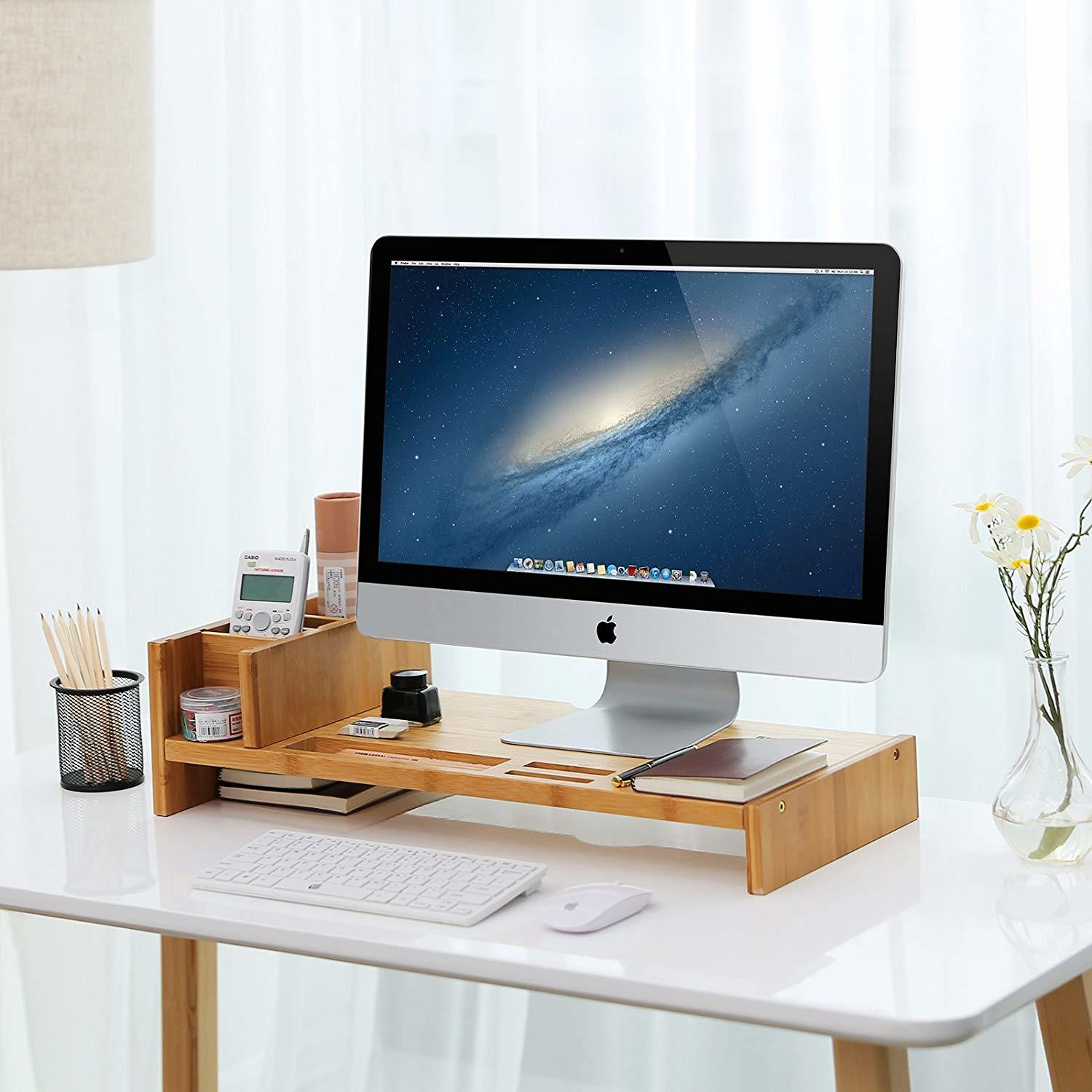 [Hot Item] Bamboo Monitor Stand Riser with Adjustable Storage Organizer  Laptop Stand Desk Organizer for Home Study Office Bt-42