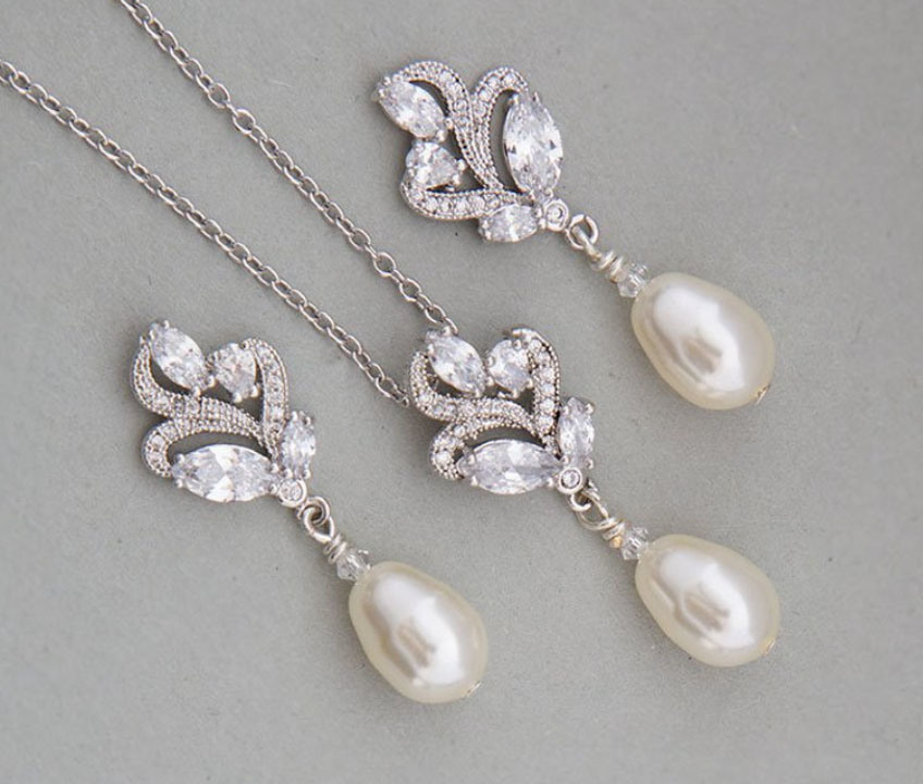 Wedding CZ Jewelry Set, Bridal Cubic Zirconia Necklace and Earring, Bridesmade Jewelry, Fashion Jewelry Set, Pearl Jewelry pictures & photos