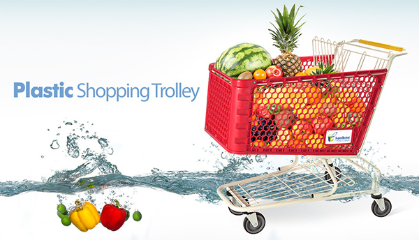 Supermarket Plastic Shopping Trolley Cart pictures & photos