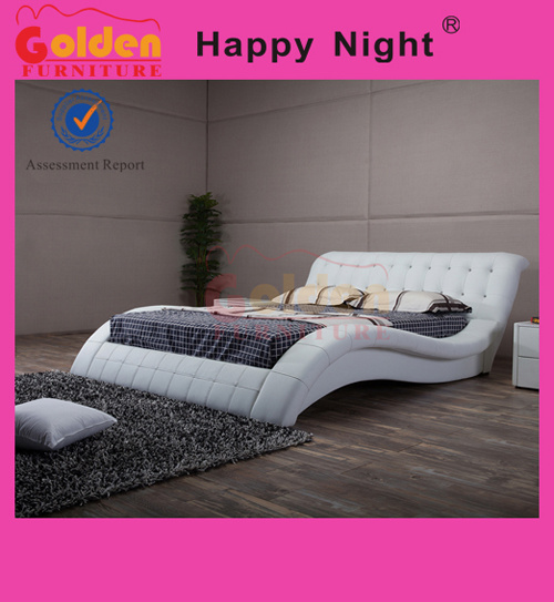 China Latest Wood Pu Leather Double Bed Designs With Box Bed Room