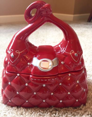 Ceramic Purse Cookie Jar Quilted Red