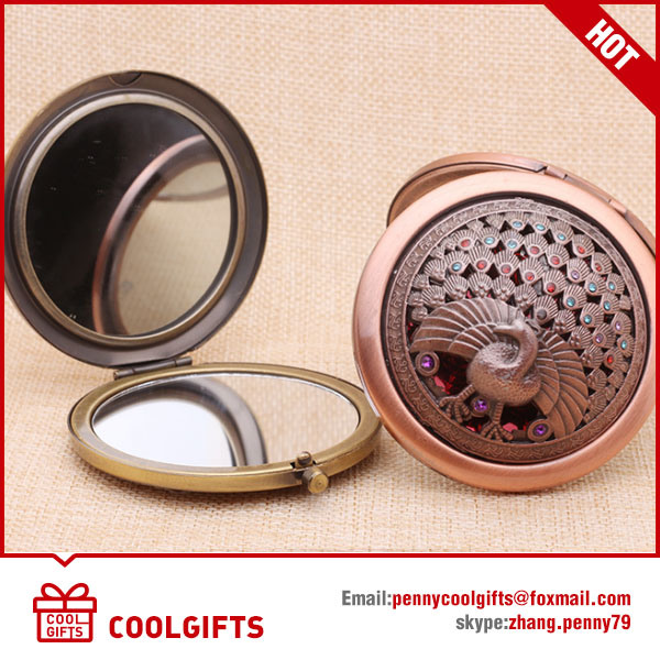 New Design Antique Copper Metal Round Vintage Style Cosmetic Mirror pictures & photos