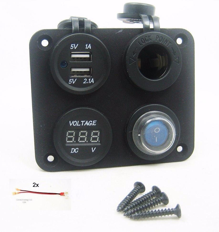 2x Heavy Duty Surface Mount Fridge Socket Connector Plug 12 VOLT 24V DC Power